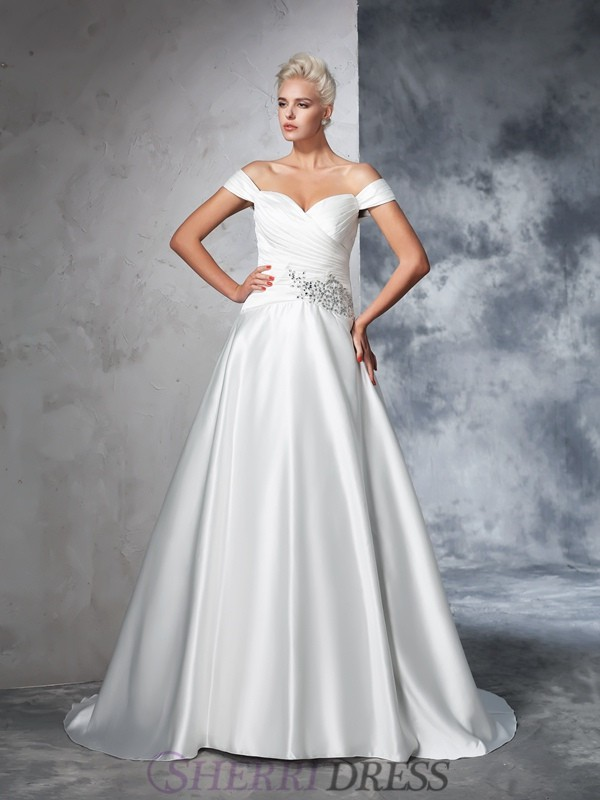 Ball Gown Off the Shoulder Taffeta Sleeveless Chapel Train Wedding Dresses