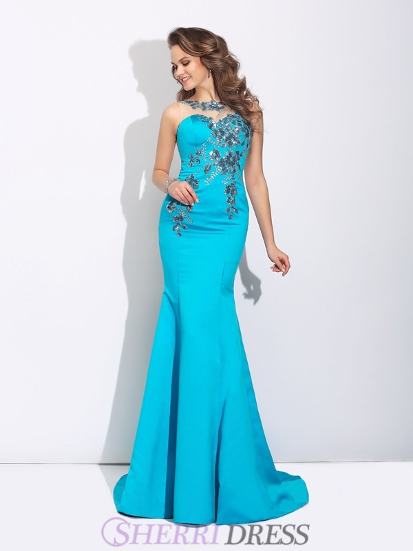 Trumpet/Mermaid Scoop Satin Sleeveless Sweep/Brush Train Evening Dresses
