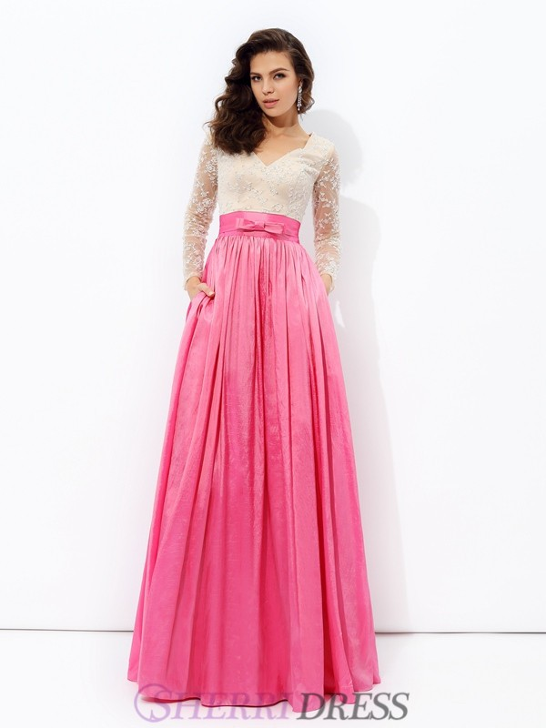 A-line/Princess V-neck Taffeta Long Sleeves Floor-Length Evening Dresses