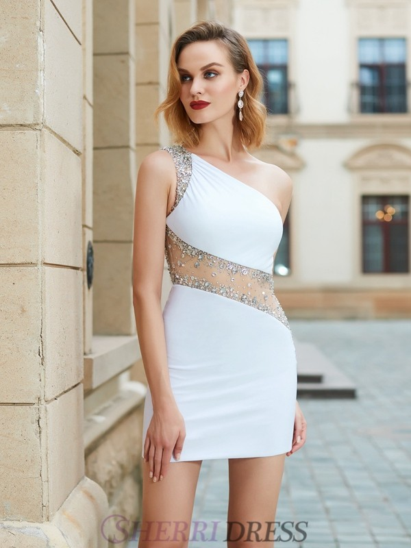 b57c1515714 Sheath Column One-Shoulder Net Sleeveless Short Mini Homecoming Dresses