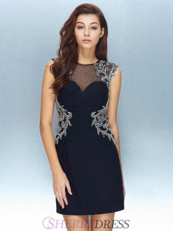 Sheath/Column Jewel Net Short Sleeves Short/Mini Homecoming Dresses