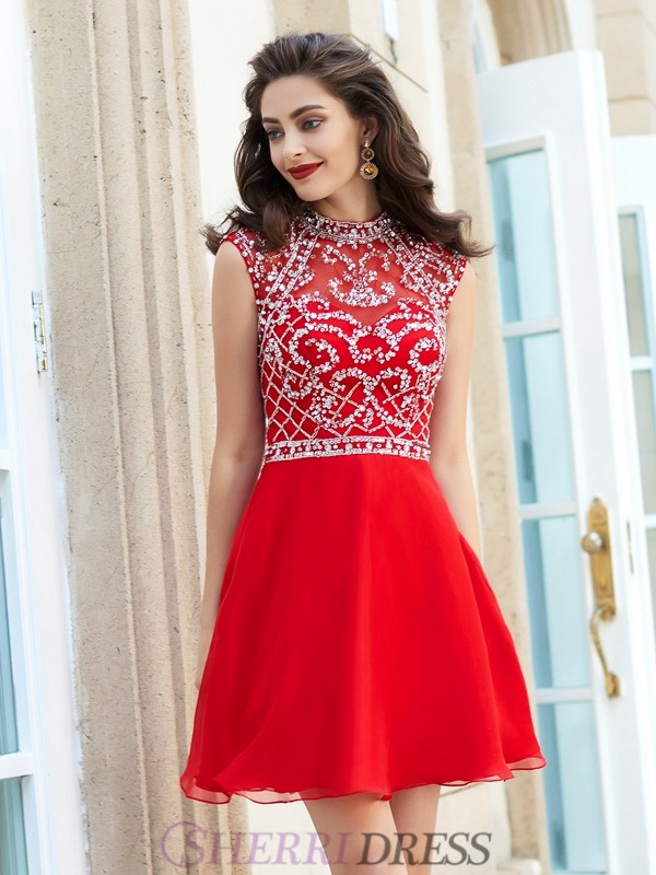 A-Line/Princess High Neck Chiffon Sleeveless Short/Mini Homecoming Dresses