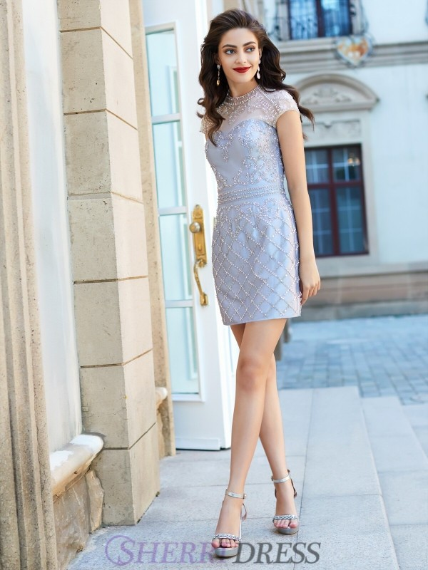 Sheath/Column Jewel Satin Short Sleeves Short/Mini Homecoming Dresses