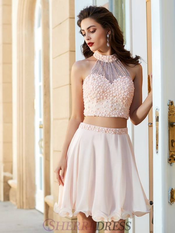 A-Line/Princess Halter Chiffon Sleeveless Short/Mini Two Piece Homecoming Dresses
