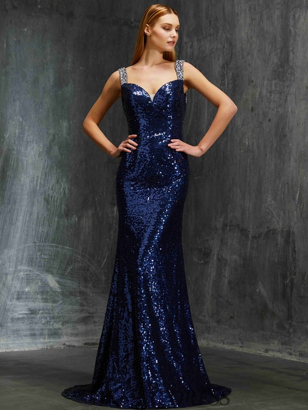 Sheath/Column V-neck Sequins Sleeveless Sweep/Brush Train Dresses