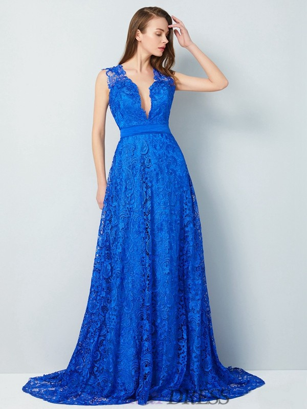 A-Line/Princess V-neck Lace Sleeveless Sweep/Brush Train Dresses