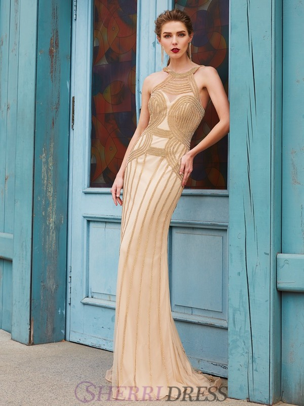 Sheath/Column High Neck Net Sleeveless Sweep/Brush Train Dresses
