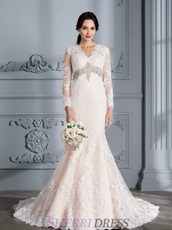 Trumpet/Mermaid V-neck Organza Long Sleeves Sweep/Brush Train Wedding Dresses