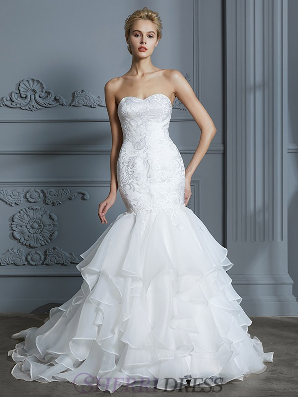 Trumpet/Mermaid Sweetheart Organza Sleeveless Sweep/Brush Train Wedding Dresses