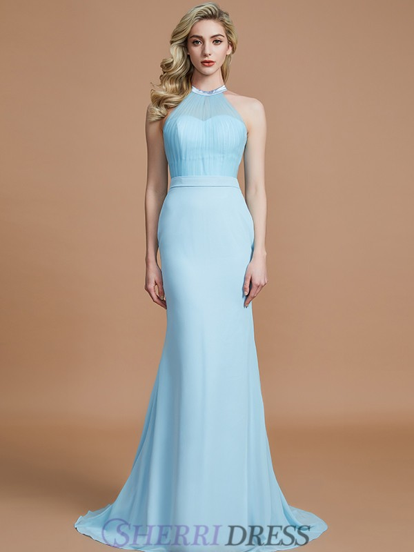 Trumpet/Mermaid Scoop Chiffon Sleeveless Sweep/Brush Train Bridesmaid Dresses