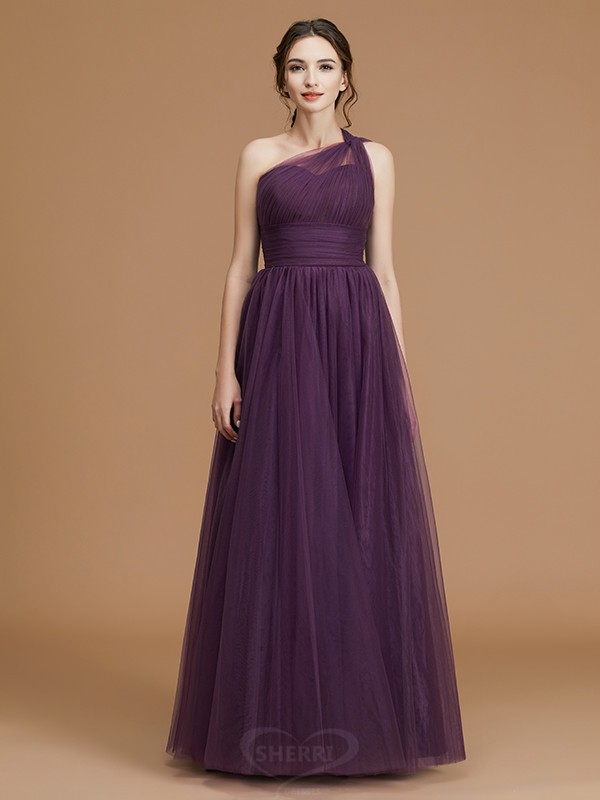 A-Line/Princess One-Shoulder Tulle Sleeveless Floor-Length Bridesmaid Dresses