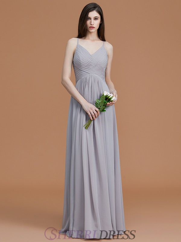 A-Line/Princess Spaghetti Straps Chiffon Sleeveless Floor-Length Bridesmaid Dresses