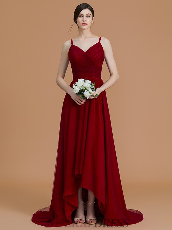 A-Line/Princess Spaghetti Straps Chiffon Sleeveless Asymmetrical Bridesmaid Dresses