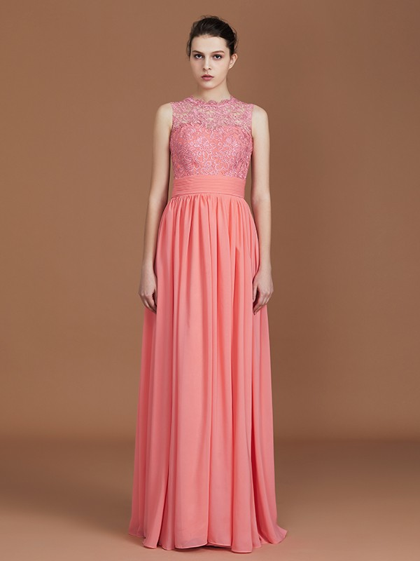 A-Line/Princess Jewel Chiffon Sleeveless Floor-Length Bridesmaid Dresses