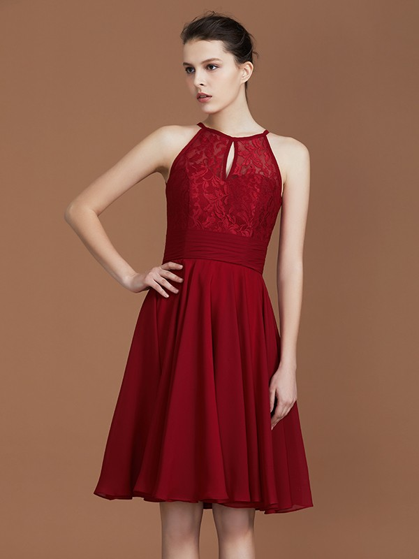 A-Line/Princess Shalterk Chiffon Sleeveless Knee-Length Bridesmaid Dresses