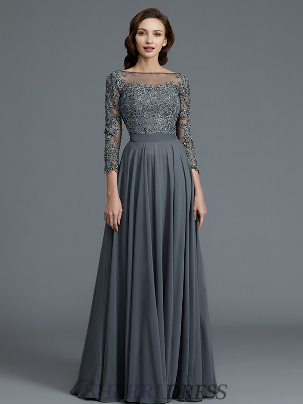 A-Line/Princess Bateau Chiffon 3/4 Sleeves Floor-Length Mother of the Bride Dresses