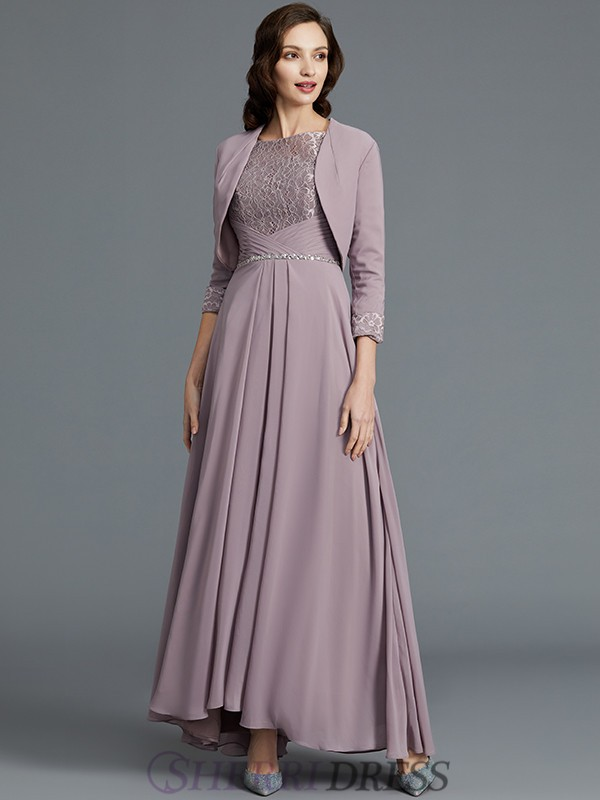 A-Line/Princess Scoop Chiffon 1/2 Sleeves Asymmetrical Mother of the Bride Dresses