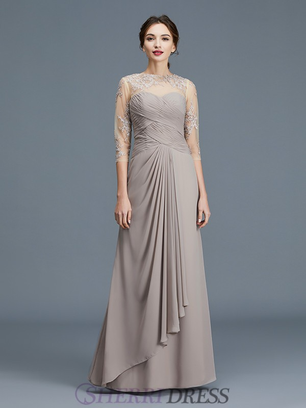 A-Line/Princess Sheer Neck Chiffon 3/4 Sleeves Floor-Length Mother of the Bride Dresses