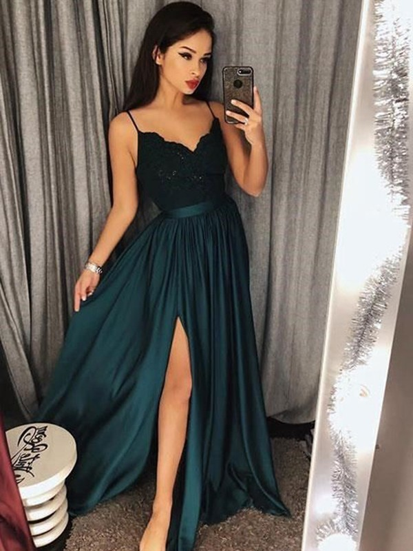 A-Line/Princess Spaghetti Straps Satin Sleeveless Floor-Length Dresses