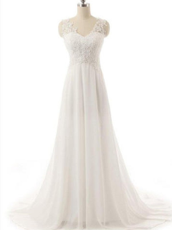 A-Line/Princess V-neck Chiffon Sleeveless Sweep/Brush Train Wedding Dresses