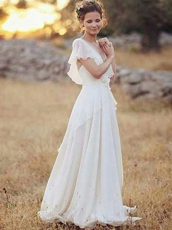 A-Line/Princess V-neck Chiffon Short Sleeves Floor-Length Wedding Dresses