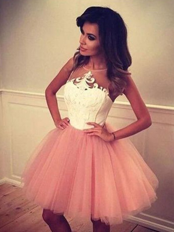 A-Line/Princess Bateau Tulle Sleeveless Short/Mini Dresses
