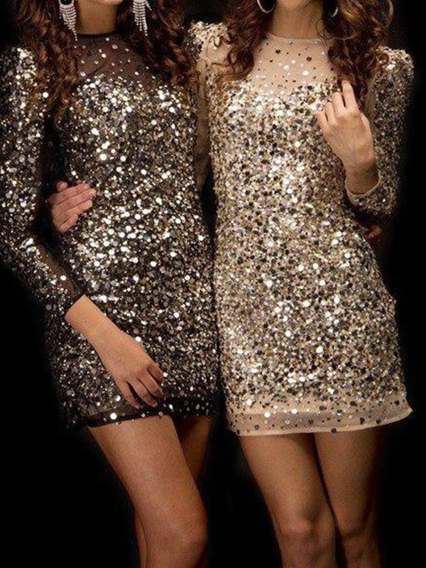 Sheath/Column Bateau Sequins Long Sleeves Short/Mini Dresses
