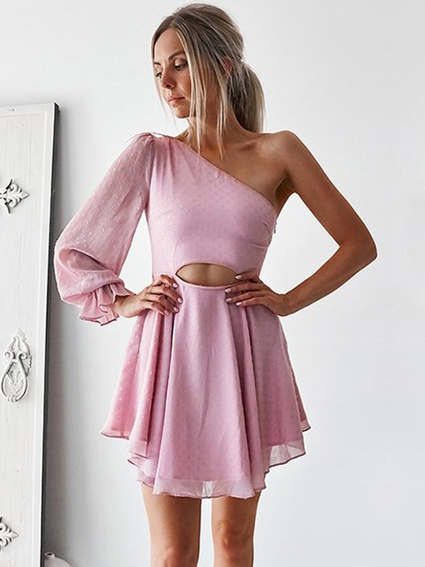 A-Line/Princess One-Shoulder Chiffon Long Sleeves Short/Mini Dresses
