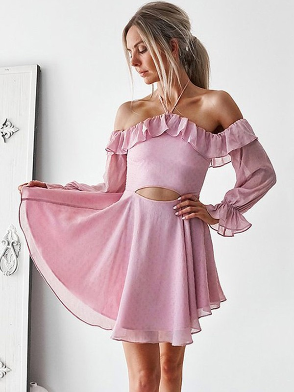 A-Line/Princess Off-the-Shoulder Chiffon Long Sleeves Short/Mini Dresses