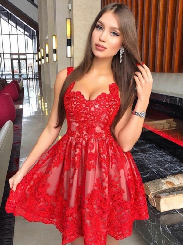 A-Line/Princess Straps Lace Sleeveless Short/Mini Dresses