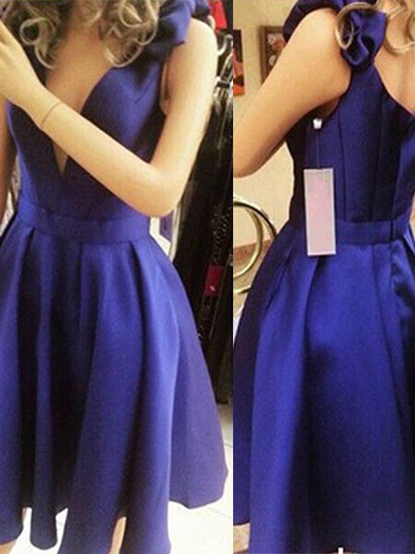 A-Line/Princess Straps Satin Sleeveless Short/Mini Dresses