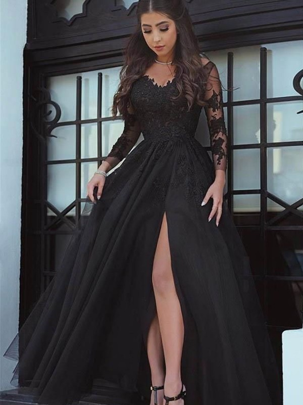 Ball Gown Off-the-Shoulder Tulle Long Sleeves Floor-Length Dresses
