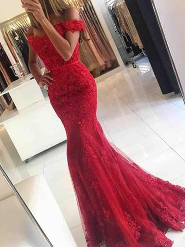 Trumpet/Mermaid Off-the-Shoulder Tulle Sleeveless Sweep/Brush Train Dresses