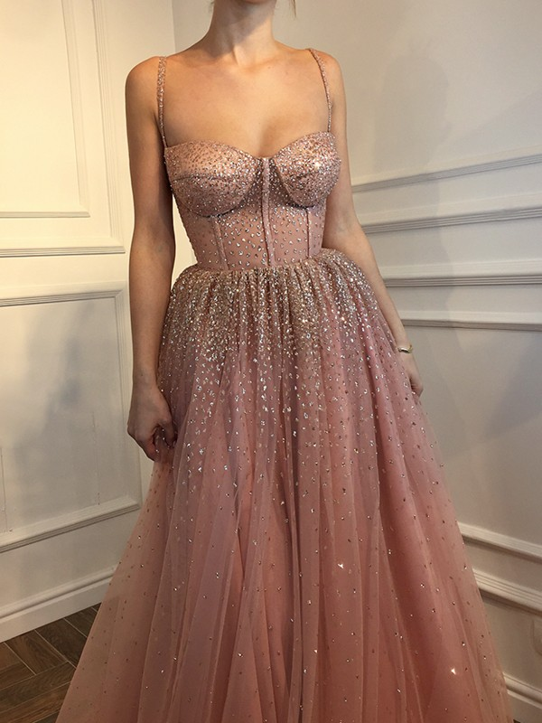 A-Line/Princess Spaghetti Straps Tulle Sleeveless Floor-Length Dresses