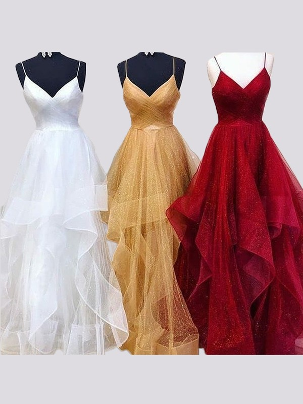 A-Line/Princess Spaghetti Straps Organza Sleeveless Floor-Length Dresses