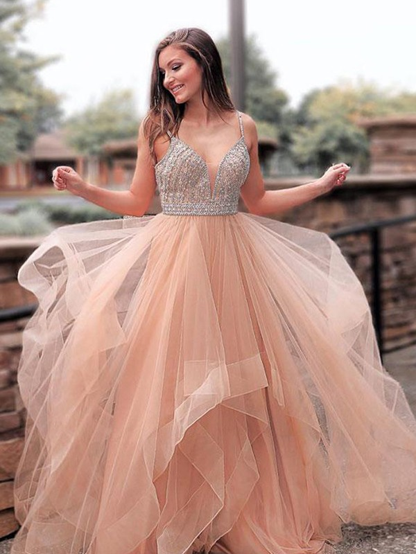 A-Line/Princess Straps Tulle Sleeveless Sweep/Brush Train Dresses