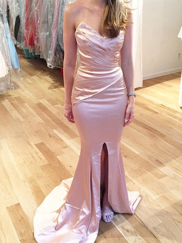 Trumpet/Mermaid Sweetheart Satin Sleeveless Sweep/Brush Train Dresses
