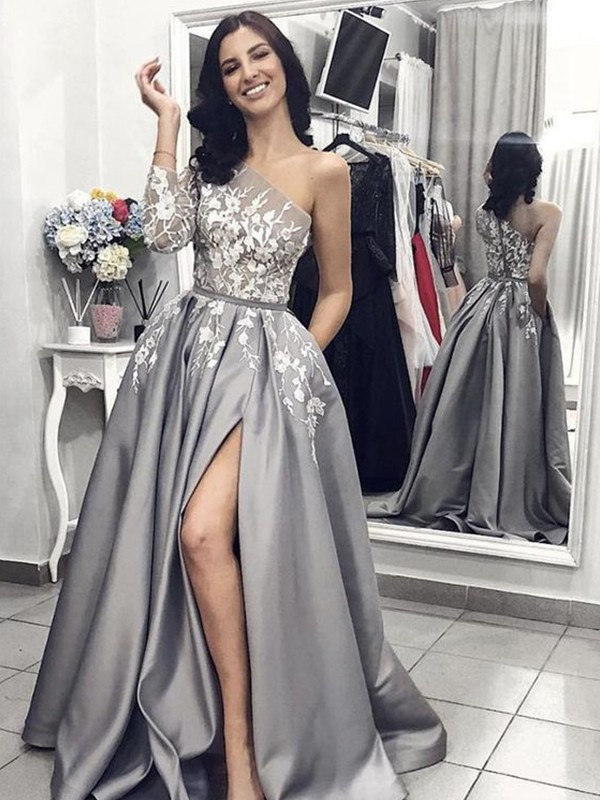 A-Line/Princess One-Shoulder Satin Sleeveless Sweep/Brush Train Dresses