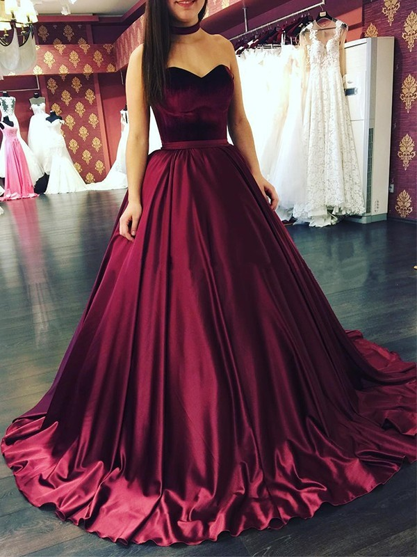 Ball Gown Sweetheart Satin Sleeveless Sweep/Brush Train Dresses