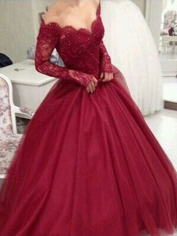 Ball Gown V-neck Tulle Long Sleeves Floor-Length Dresses
