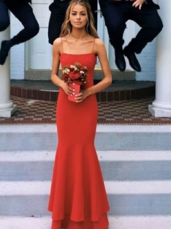 Sheath/Column Spaghetti Straps Satin Sleeveless Floor-Length Dresses