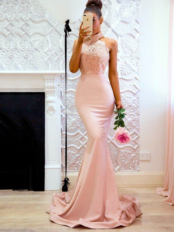 Trumpet/Mermaid Halter Satin Sleeveless Sweep/Brush Train Dresses