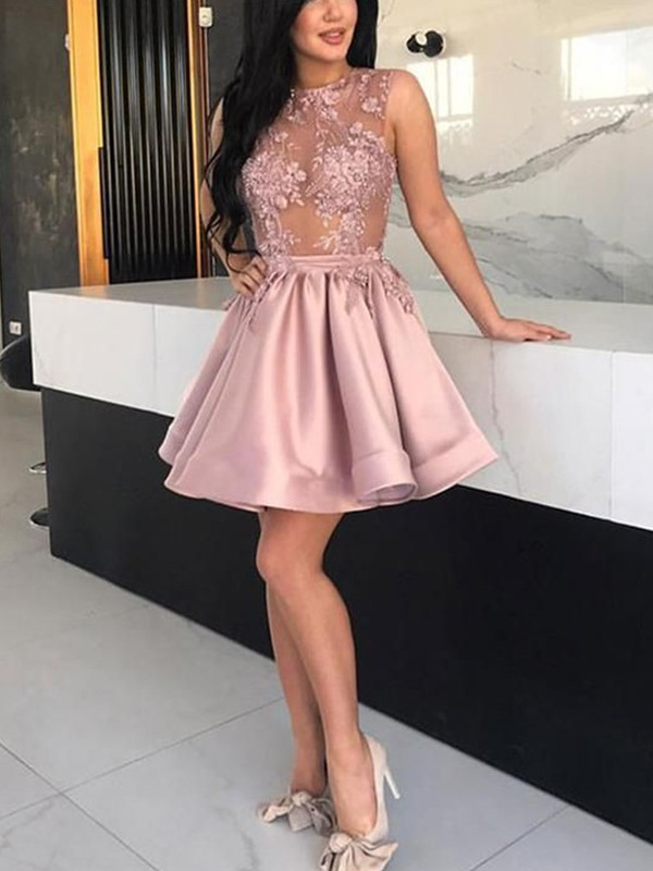 A-Line/Princess Sheer Neck Satin Sleeveless Short/Mini Dresses