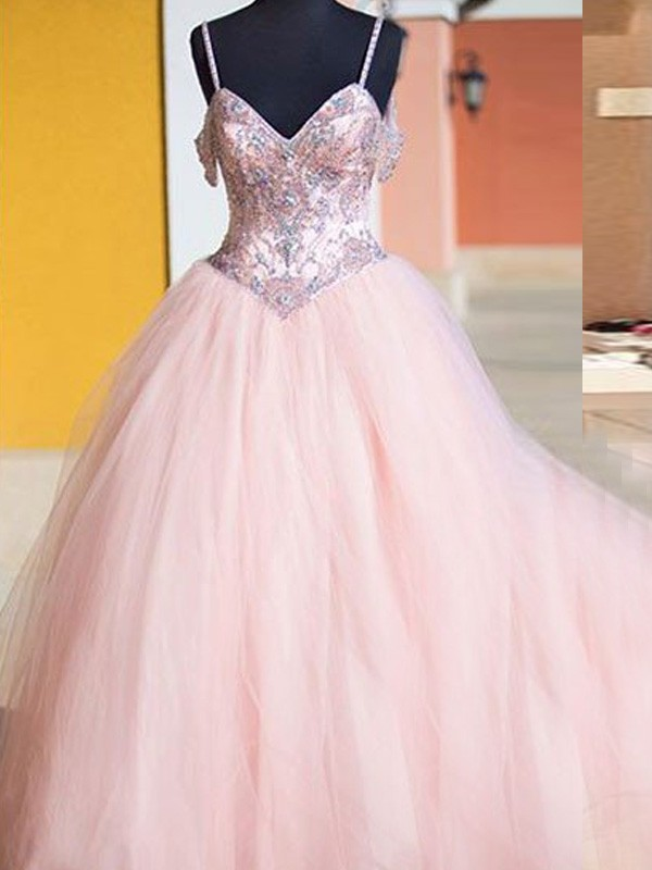 Ball Gown Spaghetti Straps Tulle Sleeveless Floor-Length Dresses