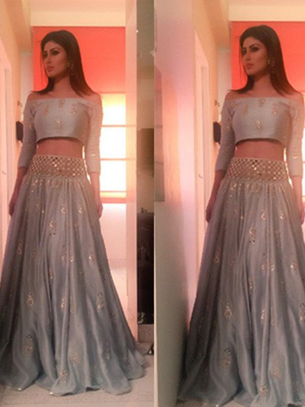 A-Line/Princess Off-the-Shoulder Satin 3/4 Sleeves Floor-Length Two Piece Dresses