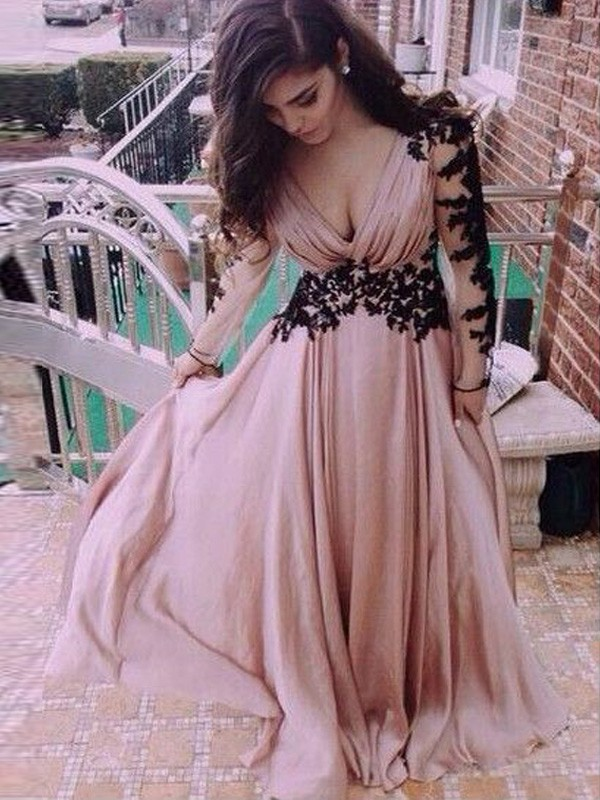 A-Line/Princess V-neck Chiffon Long Sleeves Floor-Length Dresses