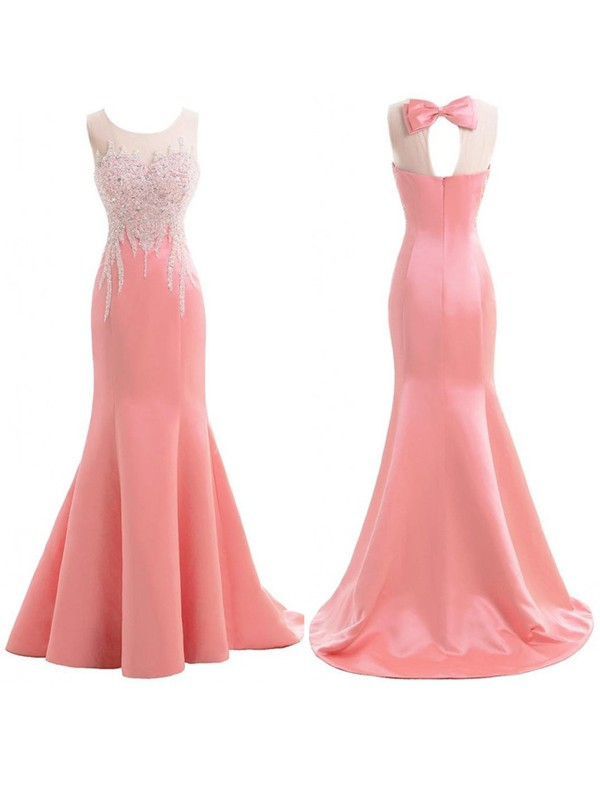 Trumpet/Mermaid Scoop Satin Sleeveless Sweep/Brush Train Bridesmaid Dresses
