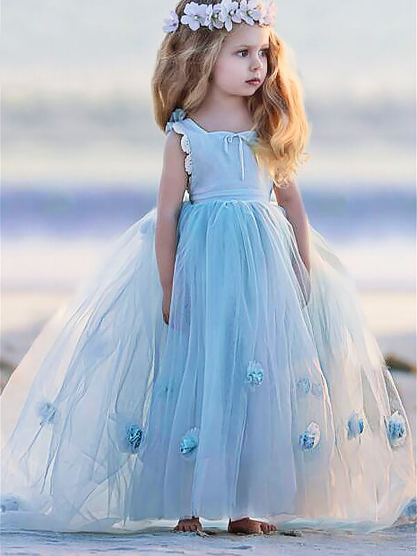 Ball Gown Bateau Tulle Sleeveless Floor-Length Flower Girl Dresses