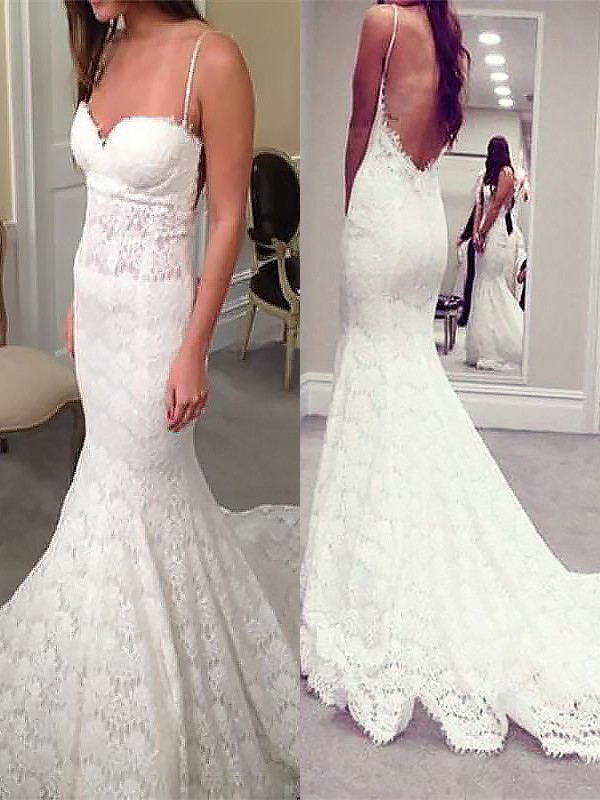 Trumpet/Mermaid Spaghetti Straps Lace Sleeveless Court Train Wedding Dresses