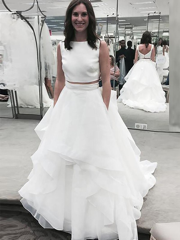A-Line/Princess Bateau Chiffon Sleeveless Court Train Two Piece Wedding Dresses